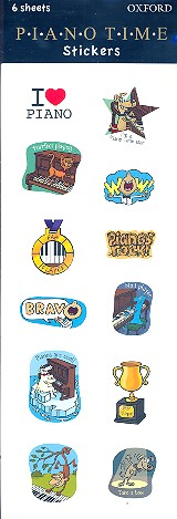 Piano Time Stickers: for piano 6 sheets (each with 12 stickers)