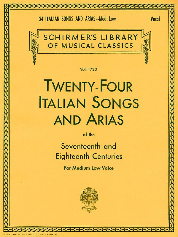 - 24 Italian Songs and Arias of the