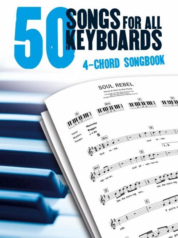 4-Chord Keyboard Songbook: 50 Songs lyrics/chord symbols/keyboard diagrams