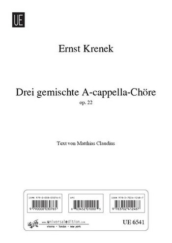 3 gemischte a cappella-Chöre op.22: