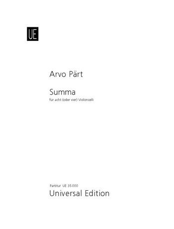 Pärt, Arvo - Summa : für 8 (4) Violoncelli