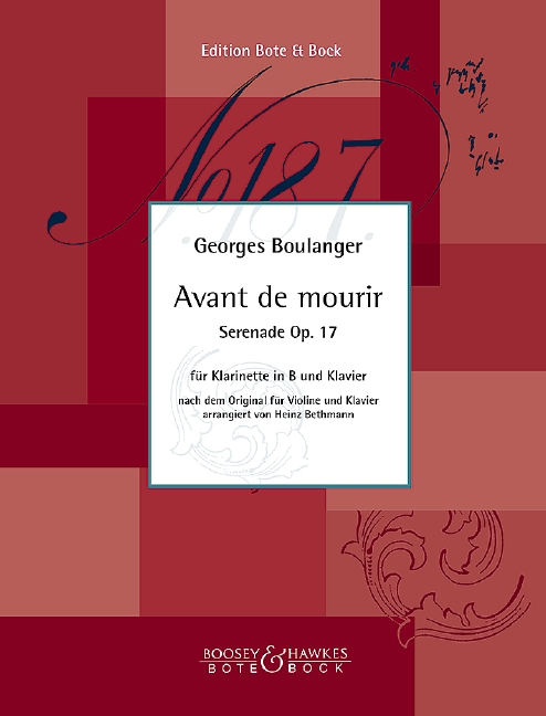 Avant de mourir opus.17: für Klarinette und Klavier