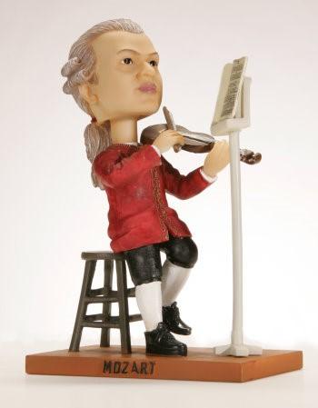 Keramikfigur Mozart mit beweglichem Kopf 18 x 7 cm
