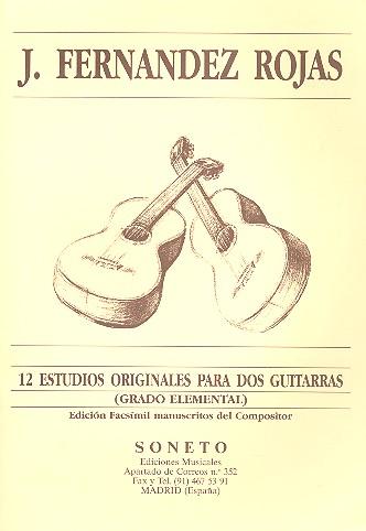 12 Estudios originales (grado elemental): para 2 guitarras