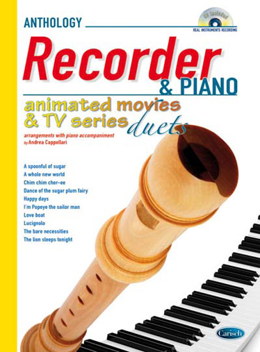 Animated Movies and TV Series Duets (+CD): for recorder and piano