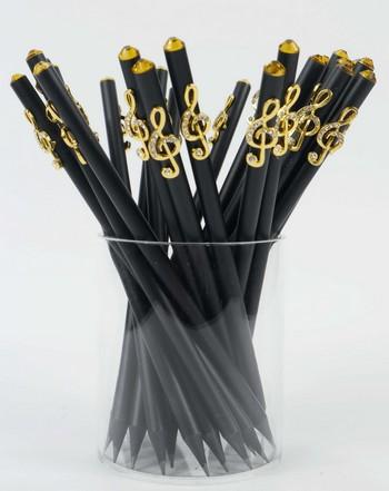Bleistift mit Violinschlüssel golden/Kristall - Vollanzeige.