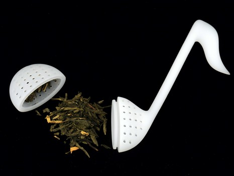 Teesieb Achtelnote weiß Silikon 14 cm - Vollanzeige.