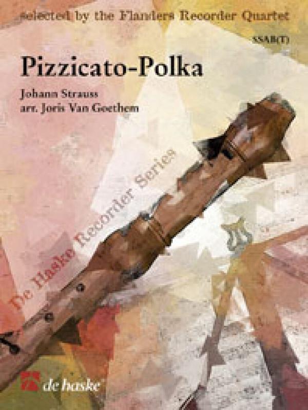 Pizzicato-Polka: für 4 Blockflöten (SSAB),  Partitur und Stimmen