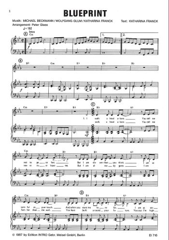 Blueprint: Einzelausgabe für Gesang und Klavier