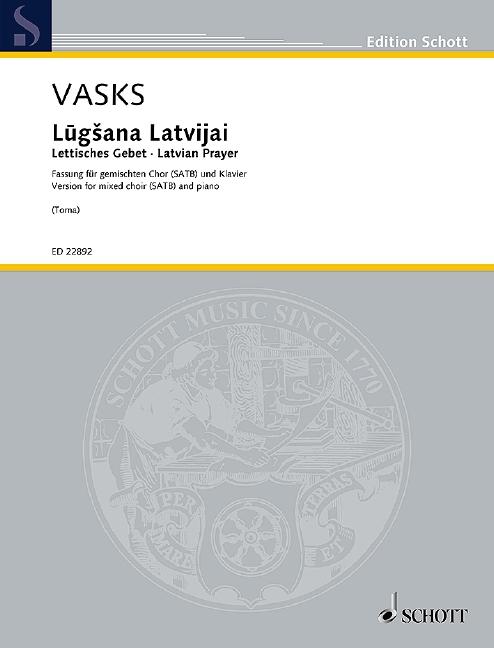 Lugsana Latvijai: für gem Chor und Klavier
