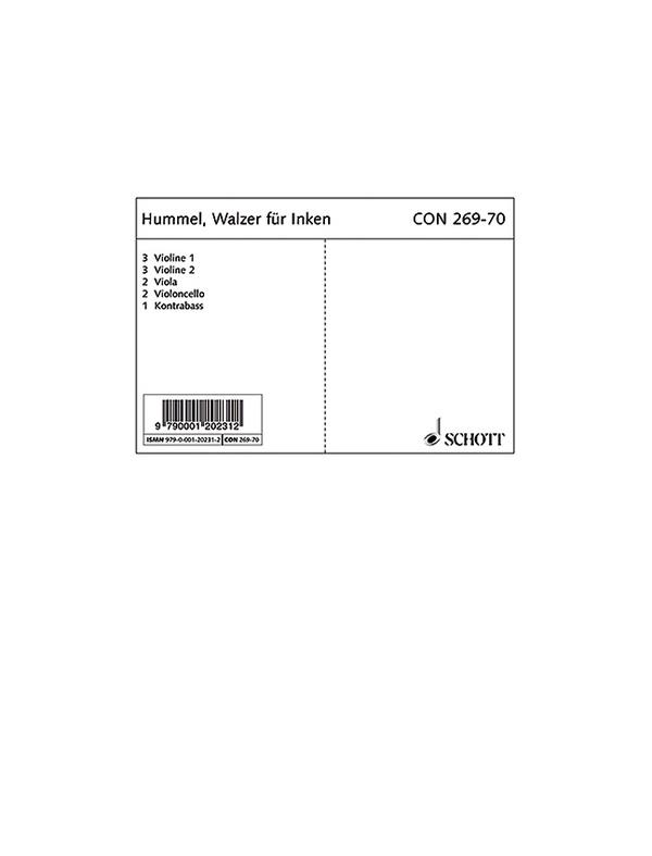 CON269-70 Walzer für Inken: für Streichorchester und Klavier