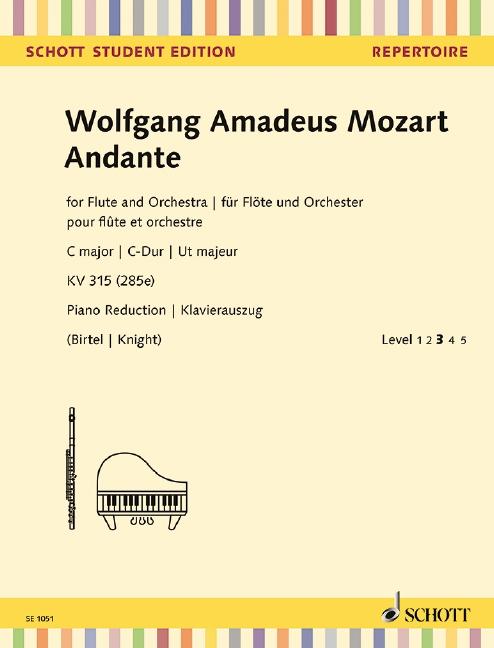 Andante C-Dur KV315 für Flöte und Orchester: für Flöte und Klavier