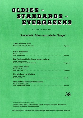 Oldies Standards Evergreens Band 38: für Klavier und Combo
