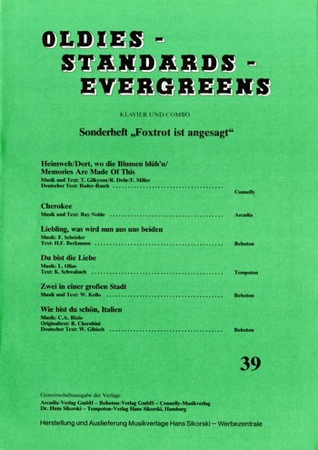 Oldies Standards Evergreens Band 39: für Klavier und Combo