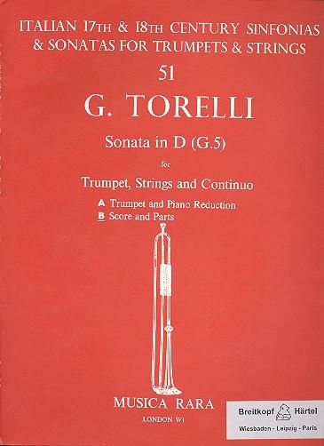 Sonata D-Dur G5: für Trompete, Streicher und Bc