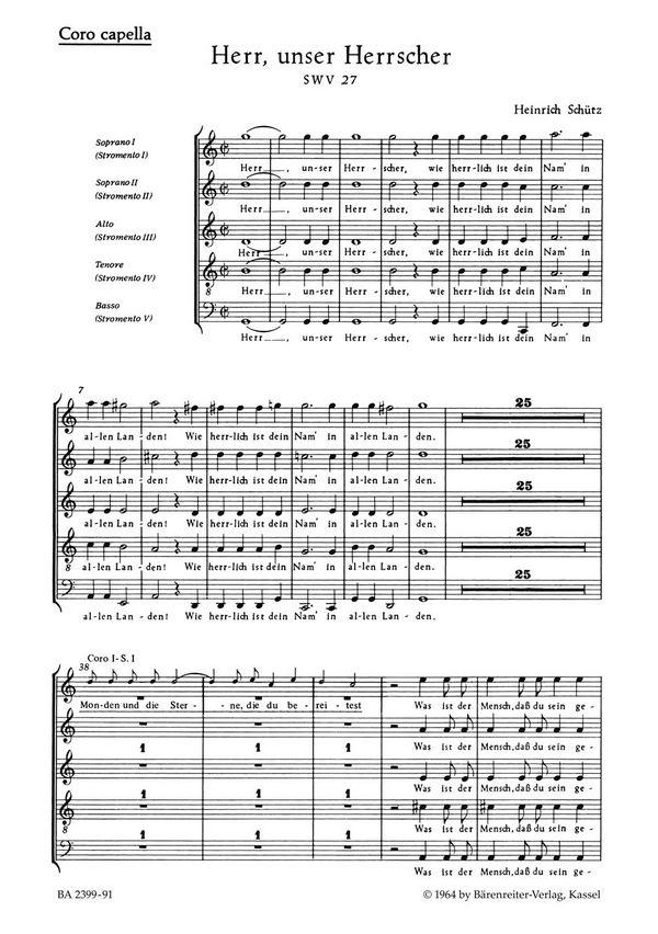 Herr unser Herrscher SWV27: für 2 gem Chöre und Bc (Instrumente ad lib)