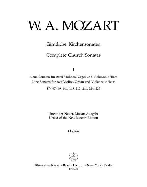 Sämtliche Kirchensonaten Band 1: für 2 Violinen, Violoncello (Kontrabass) und Orgel