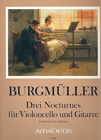 3 Nocturnes: für Violoncello und Gitarre Partitur und Stimmen