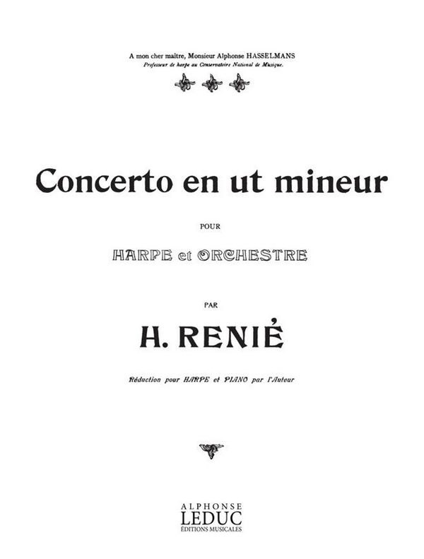 Concerto in c Minor for Harp and Orchestra: for harp and piano