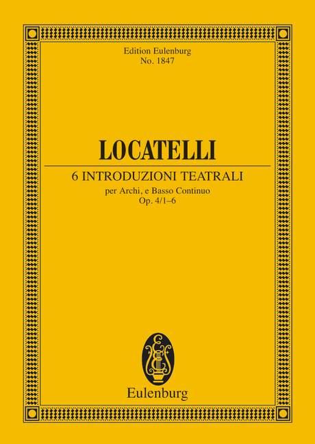 6 introduzioni teatrali opus.4,1-6: für Streichorchester und Bc