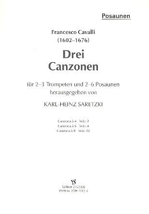3 Canzonen: für 2-3 Trompeten und 2-6 Posaunen