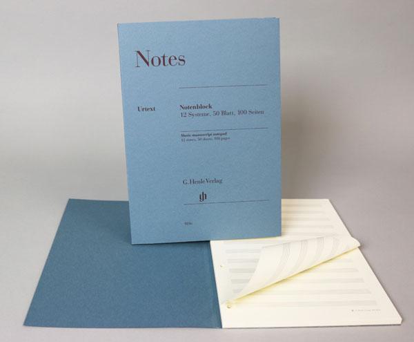 Notenblock Din A4 hoch 12 Systeme 50 Blatt beidseitig bedruckt