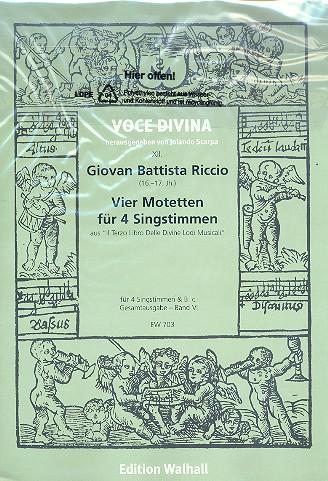4 Motetten: für 4 Singstimmen und Bc 5 Partituren