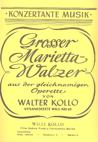 Großer Marietta-Walzer: für Klavier