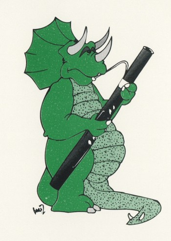 Dinosaur playing Bassoon