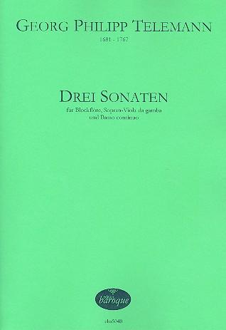 3 Sonaten TWV42: für Blockflöte, Sopran-Viola da gamba und Bc