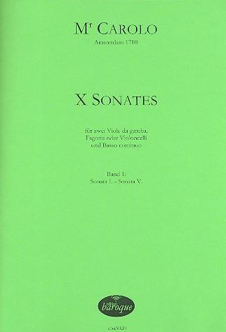 10 Sonaten Band 1 (Nr.1-5): für 2 Viole da gamba (Fagotte/Violoncelli) und Bc