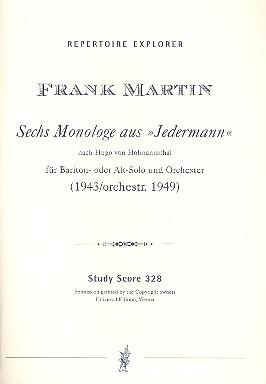 6 Monologe aus Jedermann nach Hugo von Hoffmannsthal: für Bariton (Alt)