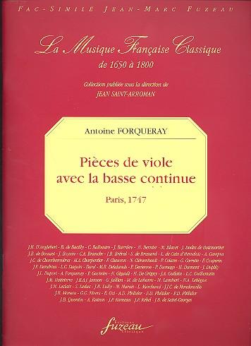 Forqueray, Antoine - Pieces de viole avec la basse continue