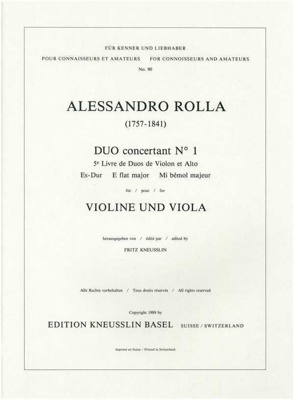 Duo concertant Nr.1 Es-Dur: für Violine und Viola