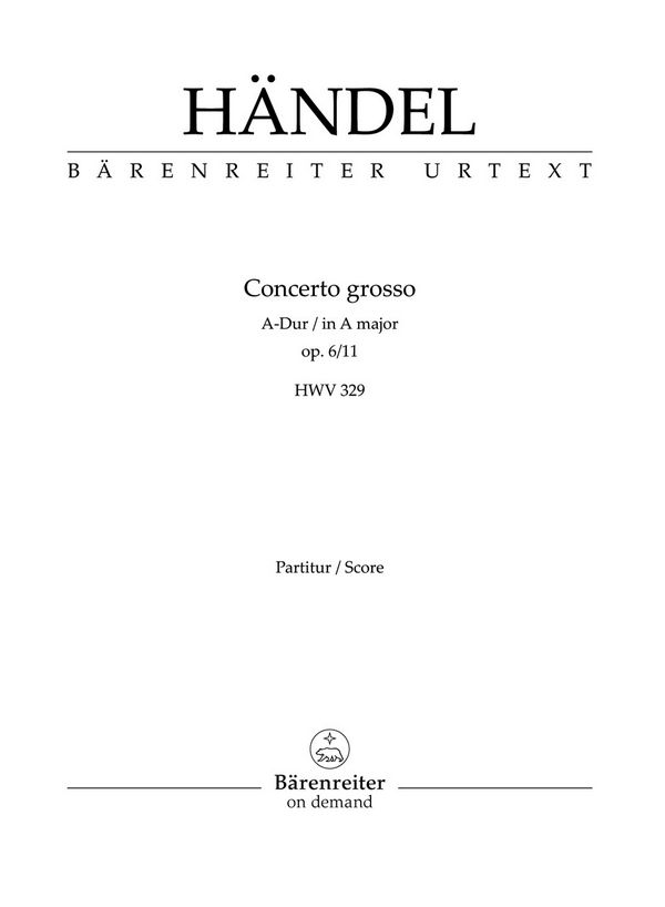 Concerto grosso A-Dur opus.6,11: Studienpartitur