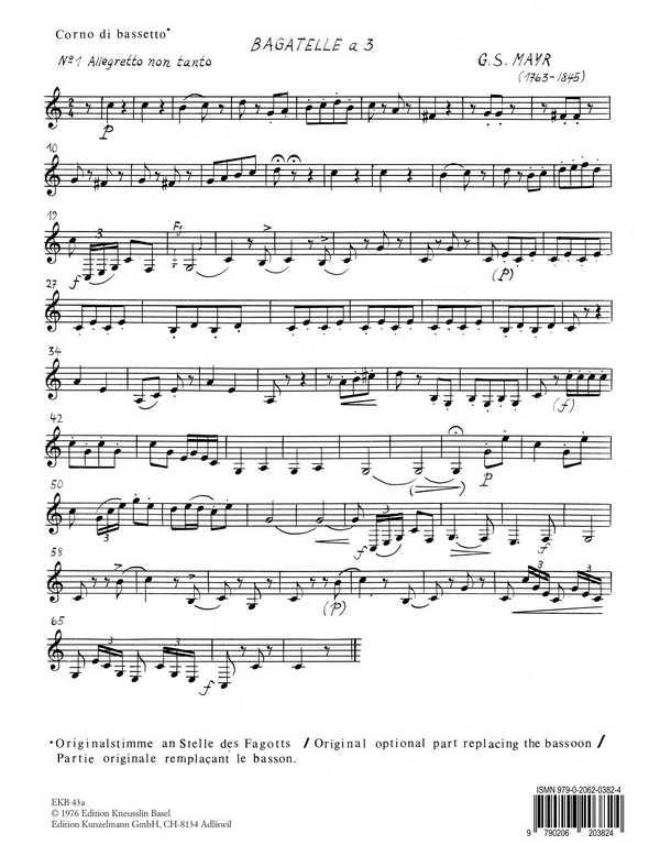 12 Bagatellen a 3: für Flöte, Klarinette und Fagott