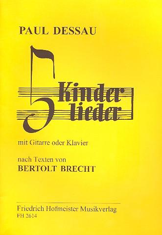 5 Kinderlieder: für Gesang und Gitarre (Klavier),  Spielpartitur