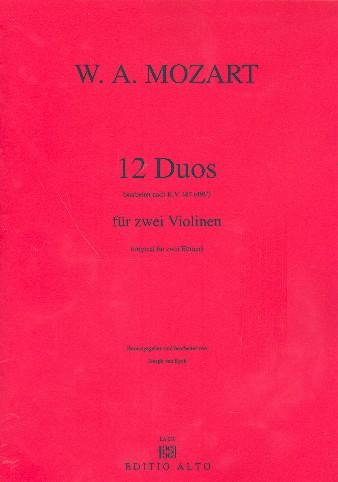 12 Duos nach KV487 (KV496a): für 2 Violinen, Spielpartitur
