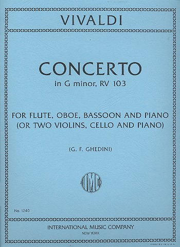 Concerto in g Minor F.XII:4: for flute, oboe, bassoon and piano