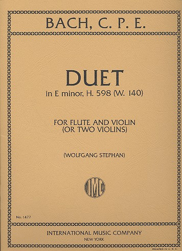 Duet in e minor H598 WQ140: for flute and violin (2 violins)