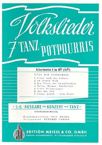 7 Volkslieder-Tanzpotpourris: Klarinette 1 in B oder Es