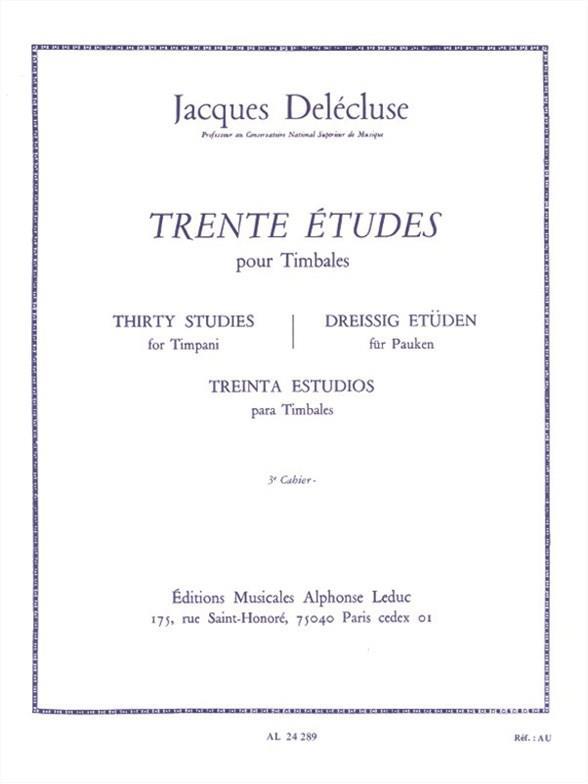 30 Études vol.3: pour timbales (dt/en/fr/sp)
