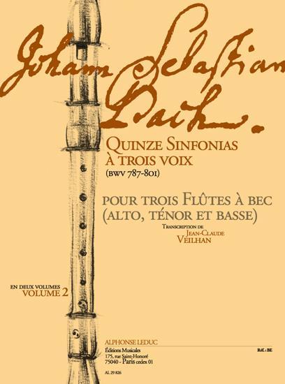 15 Sinfonias à 3 voix vol.2 (BWV787-801): pour 3 flutes à bec (ATB)