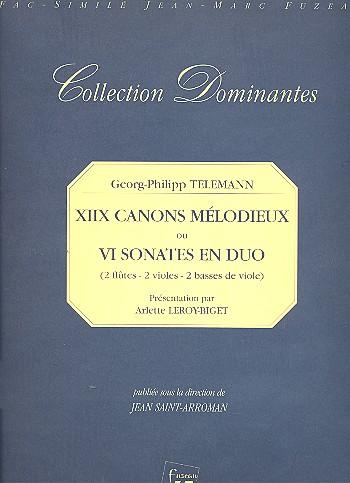 18 canons melodieux ou 6 sonates en duo: pour 2 flutes (violes/basses de viole)