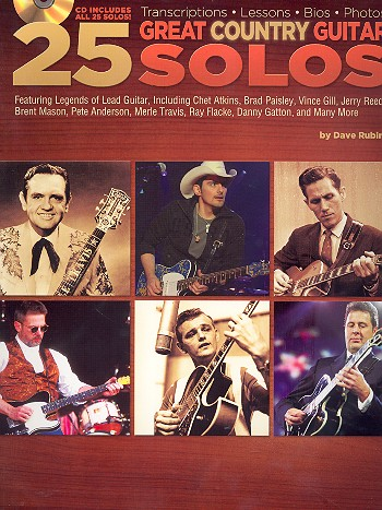 25 great Country Guitar Solos (+CD): for guitar/tab
