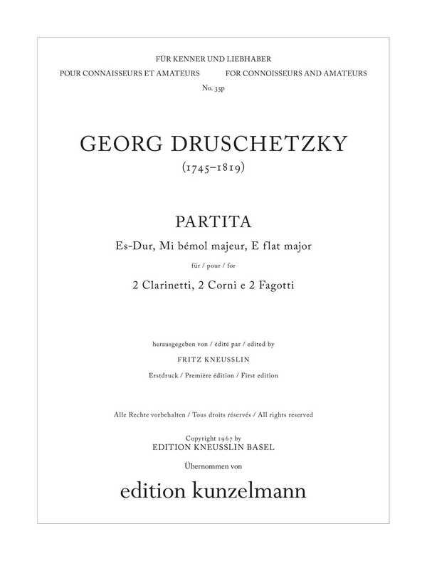 Partita Es-Dur: für 2 Klarinetten, 2 Hörner und 2 Fagotte