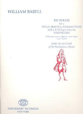 12 Solos for Violin (Hautboy, German Flute): für Violine und Bc (nicht ausgesetzt)