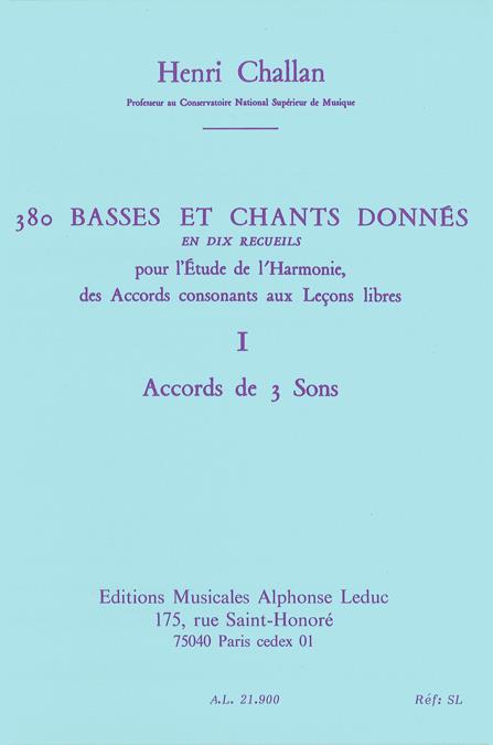 380 basses et chants donnés vol.1: Accords de 3 sons