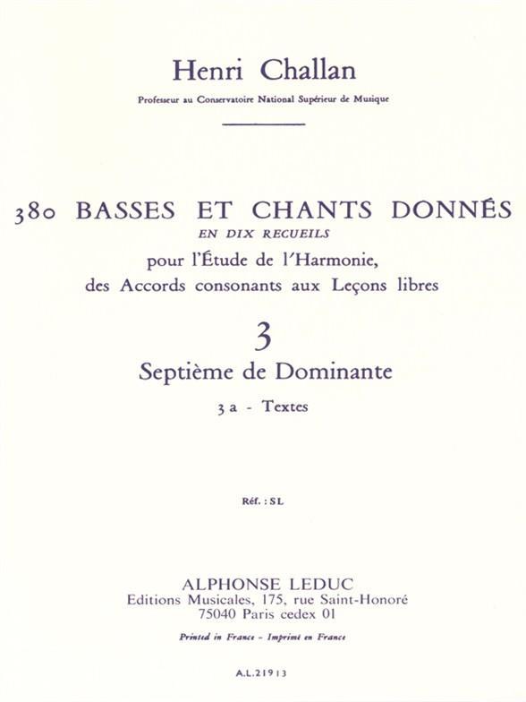 380 basses et chants donnés vol.3a: Septième de Dominante - textes