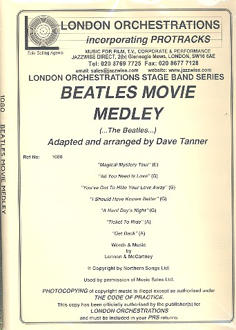 Beatles Movie Medley: for vocals and jazz ensemble